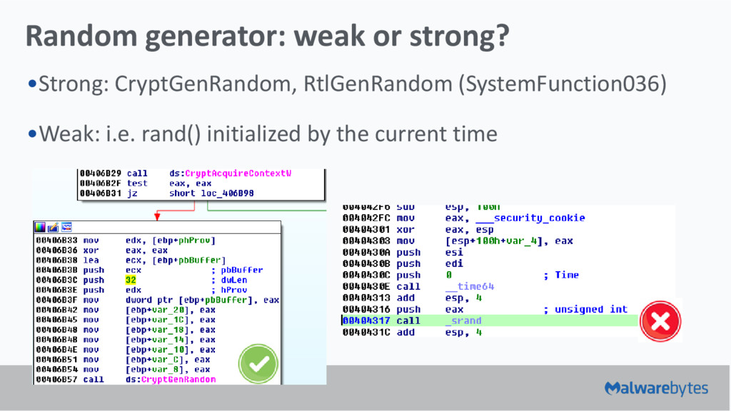 Random generator: weak or strong? •Strong: Cryp...