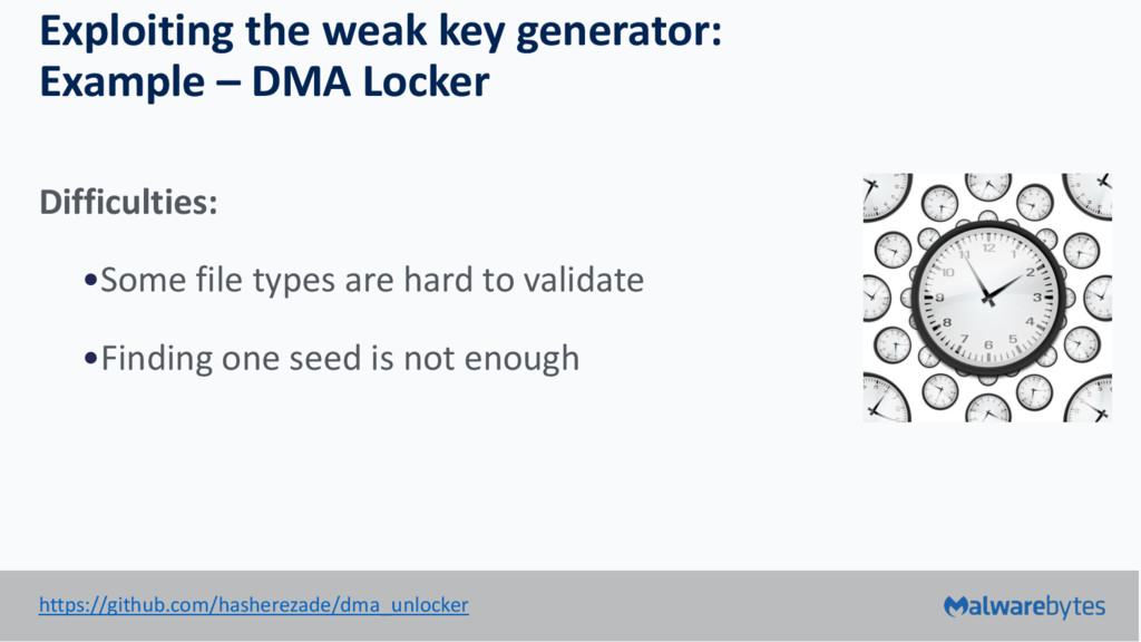 Exploiting the weak key generator: Example – DM...