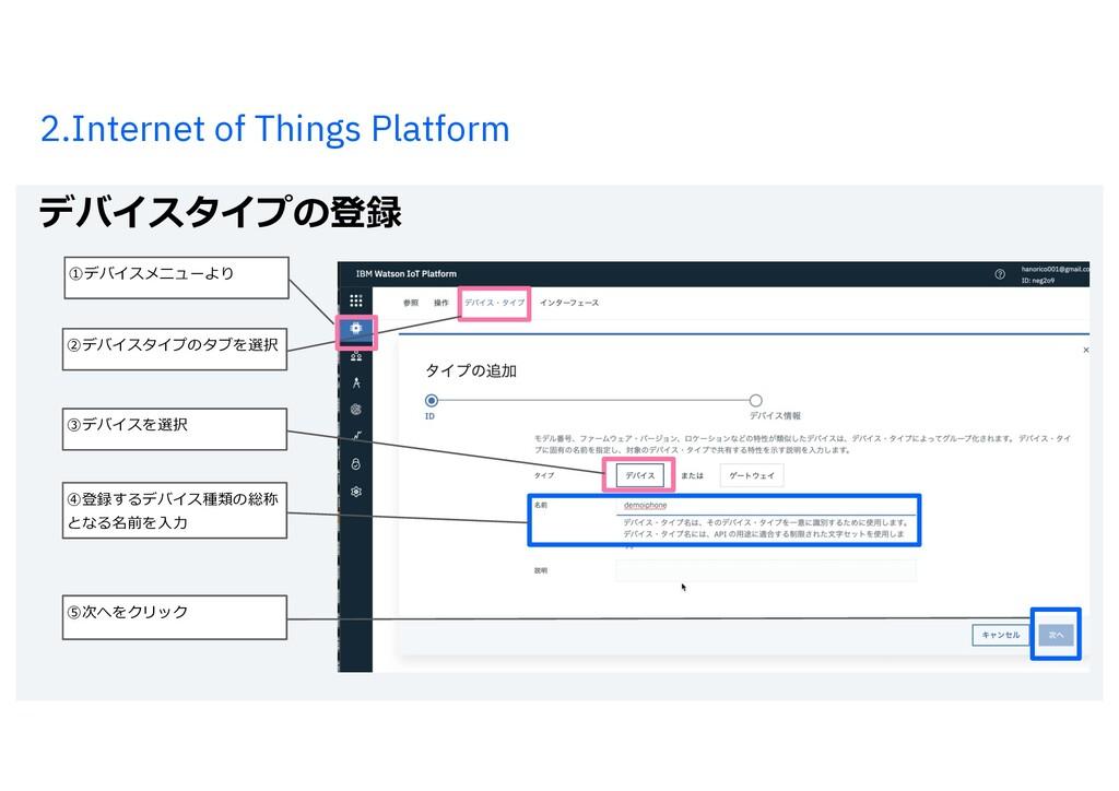 2.Internet of Things Platform デバイスタイプの登録 18 ⑤次へ...