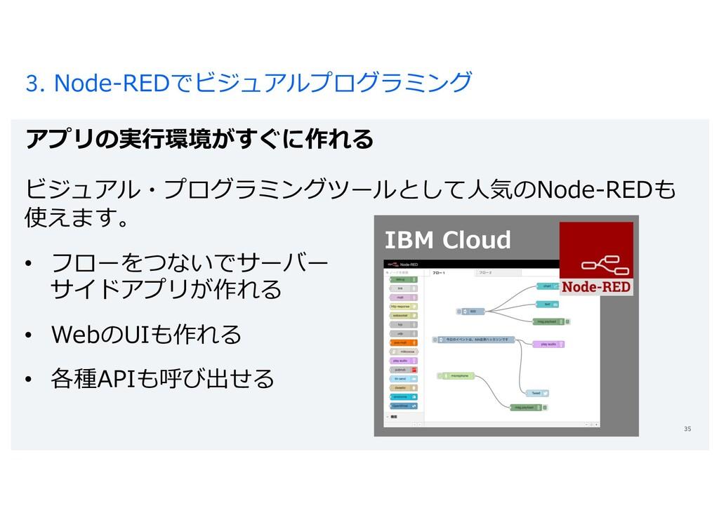 3. Node-REDでビジュアルプログラミング アプリの実⾏環境がすぐに作れる 35 ビジュ...
