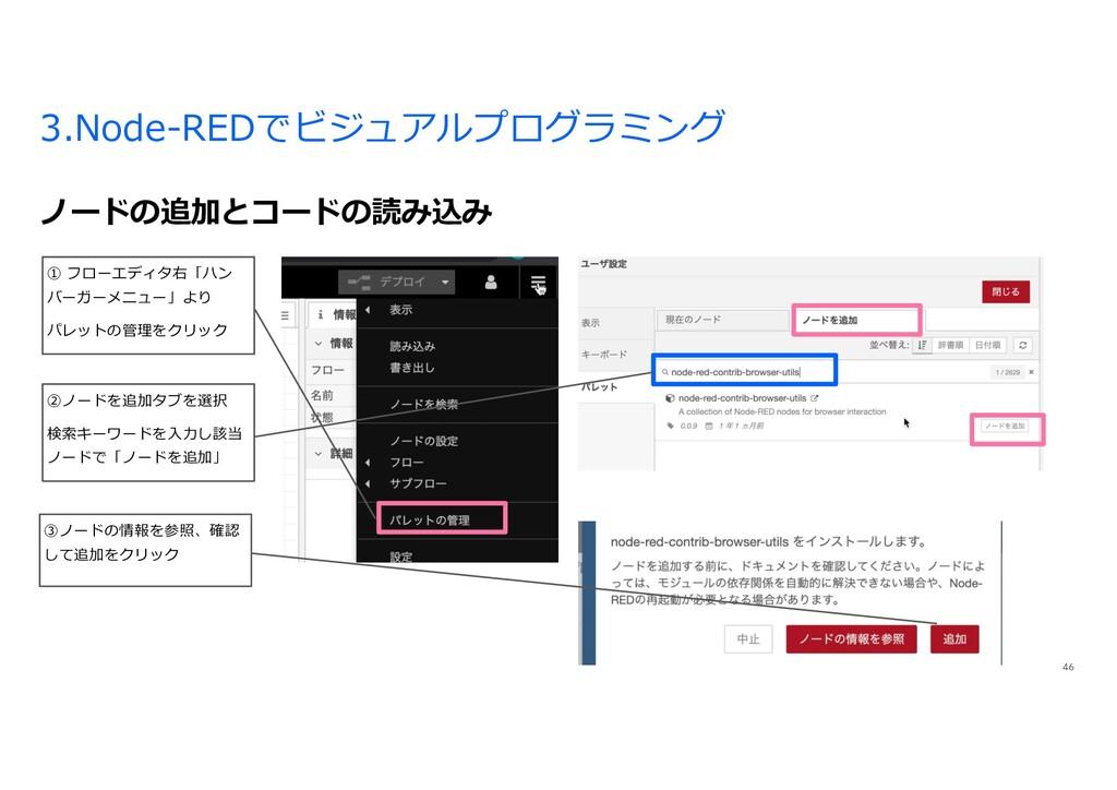 3.Node-REDでビジュアルプログラミング ノードの追加とコードの読み込み 46 ① フロ...