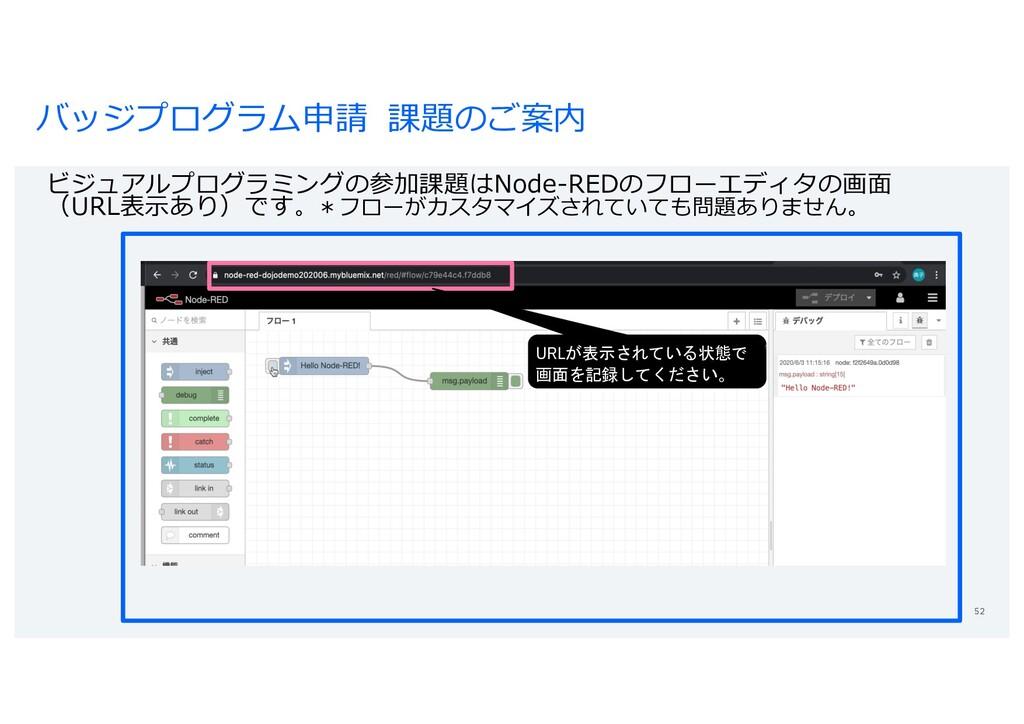 バッジプログラム申請 課題のご案内 52 URLが表示されている状態で 画面を記録してください...