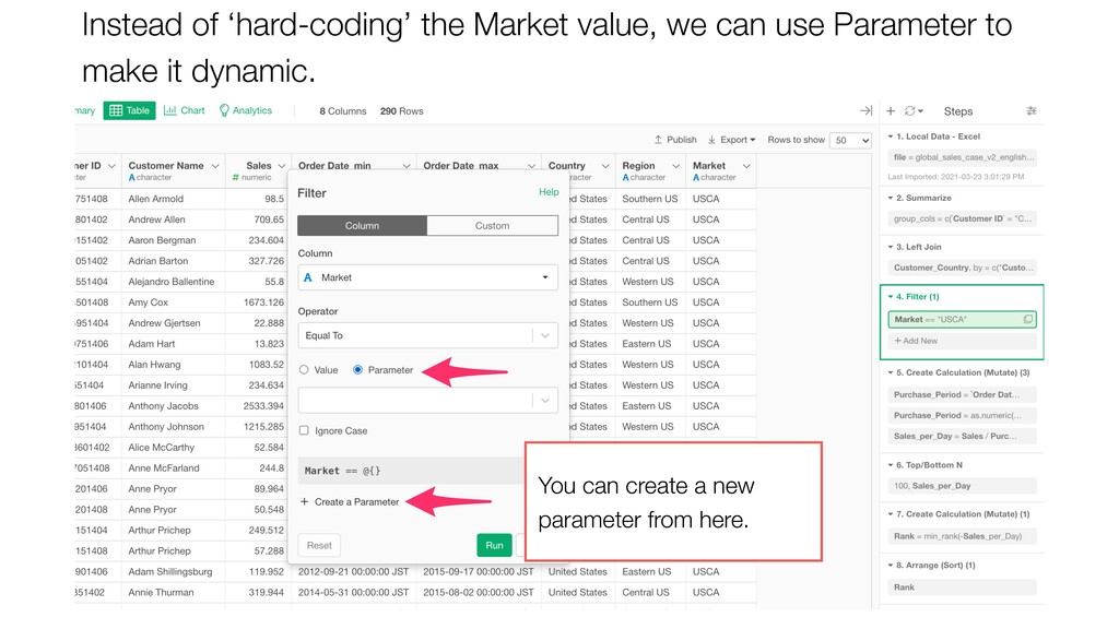 Instead of 'hard-coding' the Market value, we c...