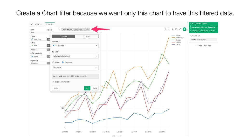 Create a Chart filter because we want only this ...