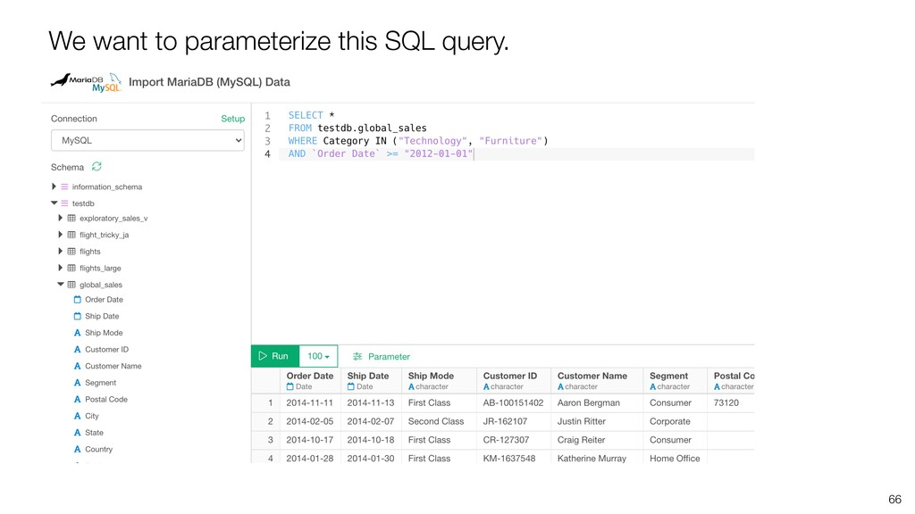 66 We want to parameterize this SQL query.