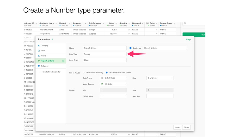 Create a Number type parameter.