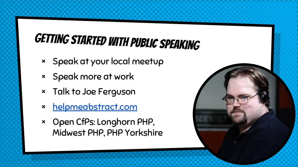 Getting started with public speaking × Speak at...