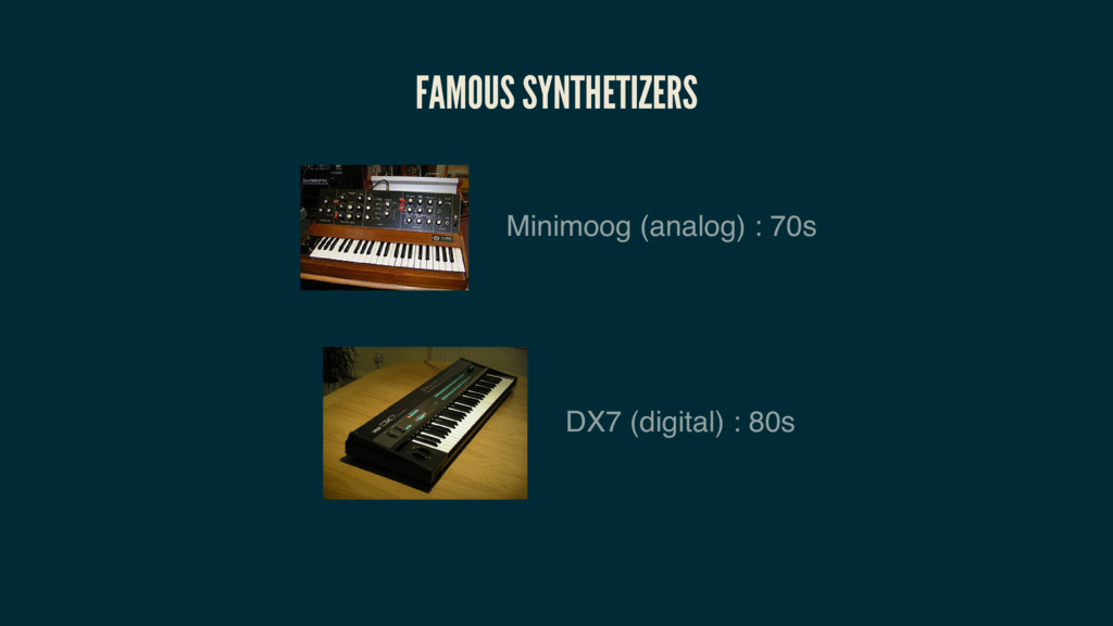 FAMOUS SYNTHETIZERS Minimoog (analog) : 70s DX7...