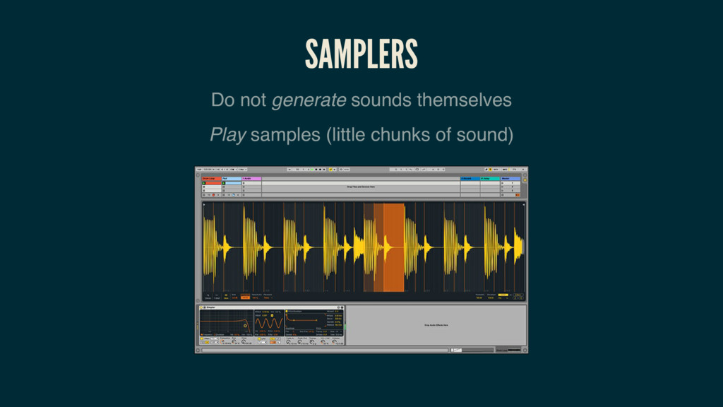 SAMPLERS Do not generate sounds themselves Play...