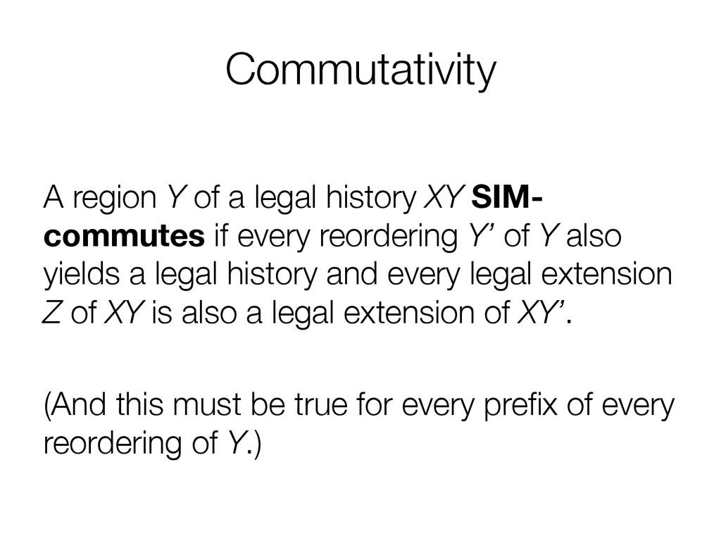 Commutativity  A region Y of a legal history ...