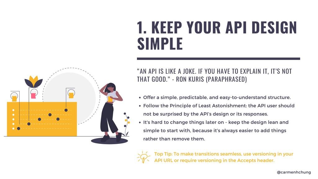 """1. KEEP YOUR API DESIGN SIMPLE """"AN API IS LIKE ..."""