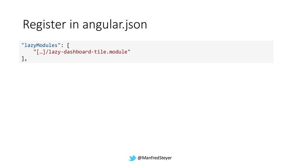 "@ManfredSteyer Register in angular.json ""lazyMo..."