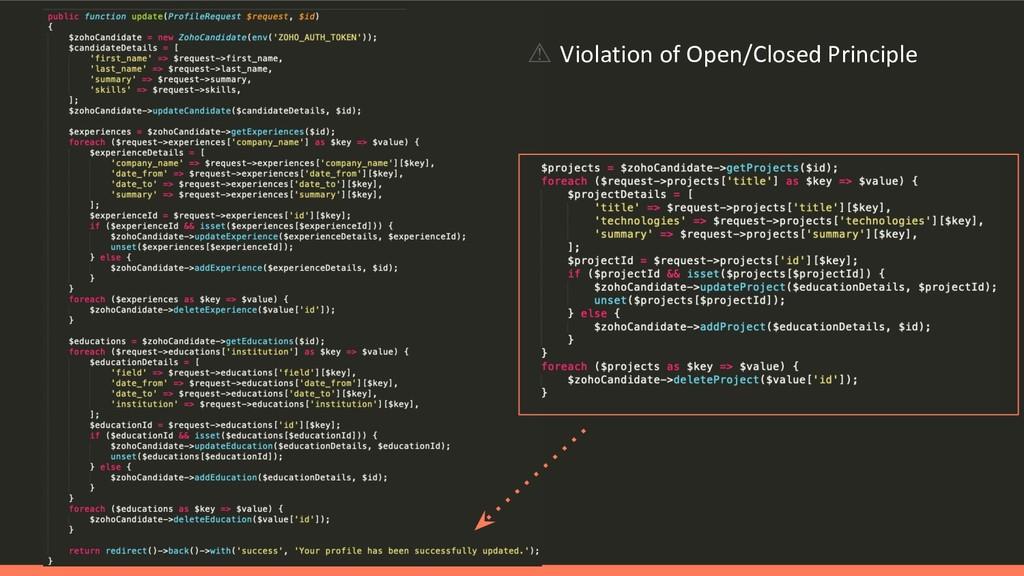 ⚠ Violation of Open/Closed Principle