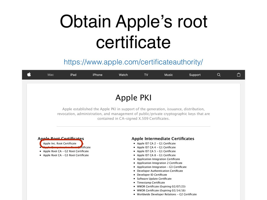 Obtain Apple's root certificate Apple Root Certi...