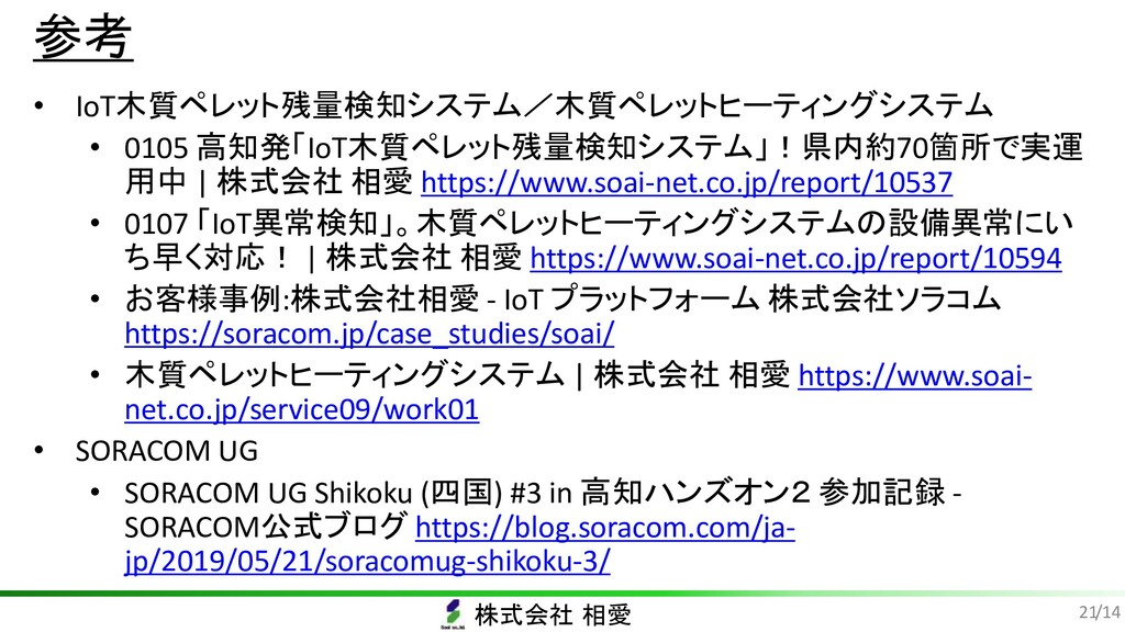 株式会社 相愛 /14 参考 • IoT木質ペレット残量検知システム/木質ペレットヒーティング...