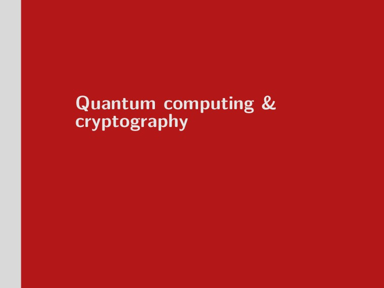 Quantum computing & cryptography