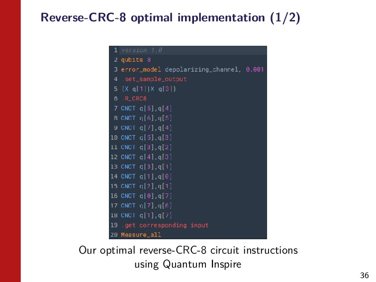 36 Reverse-CRC-8 optimal implementation (1/2) O...