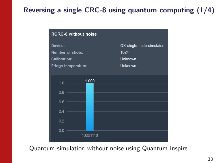 38 Reversing a single CRC-8 using quantum compu...