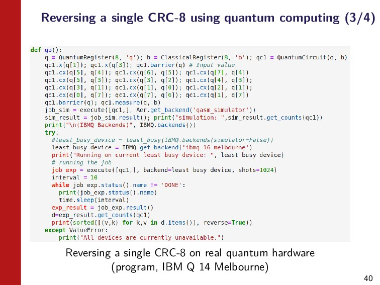 40 Reversing a single CRC-8 using quantum compu...