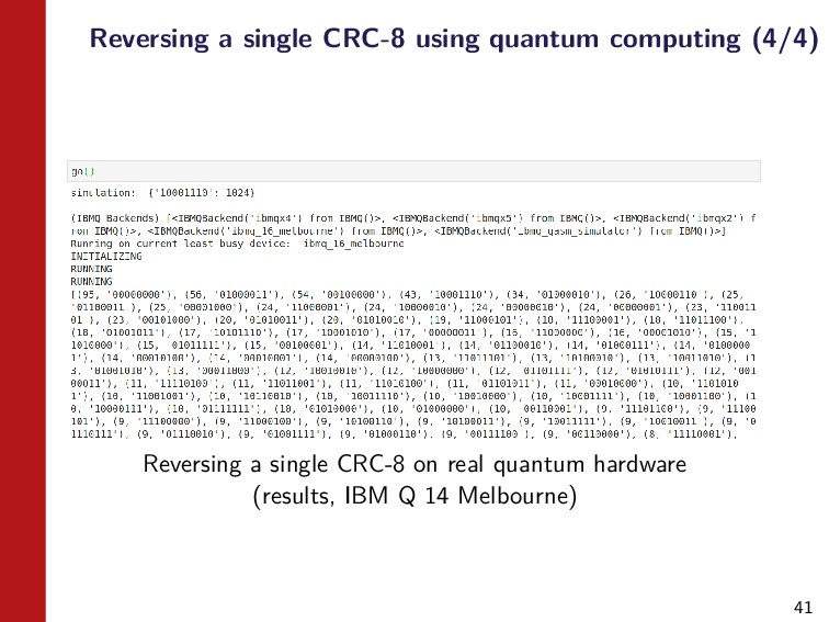 41 Reversing a single CRC-8 using quantum compu...