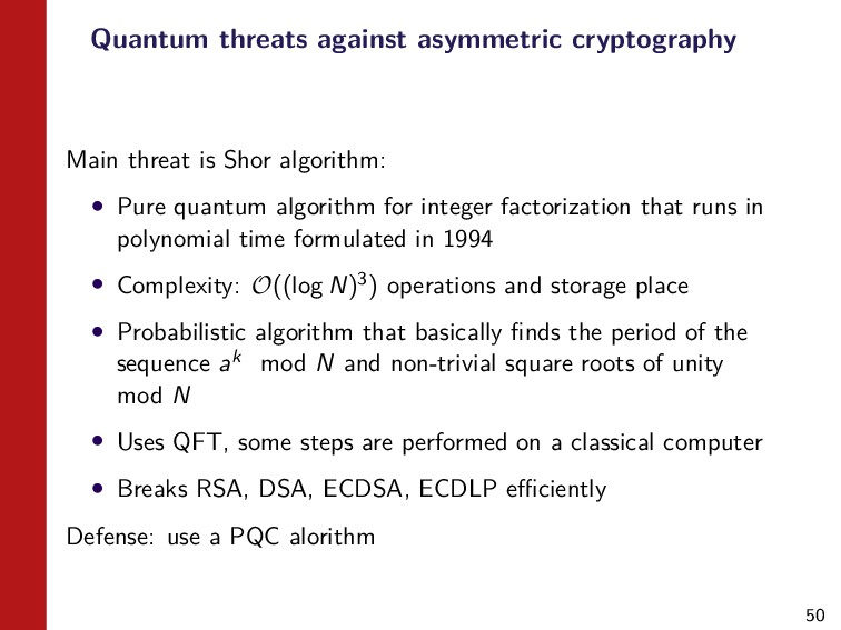50 Quantum threats against asymmetric cryptogra...