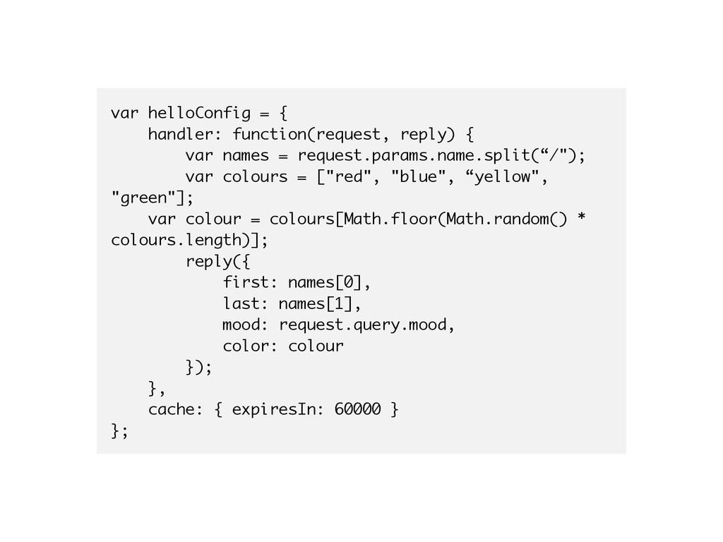 var helloConfig = { handler: function(request, ...