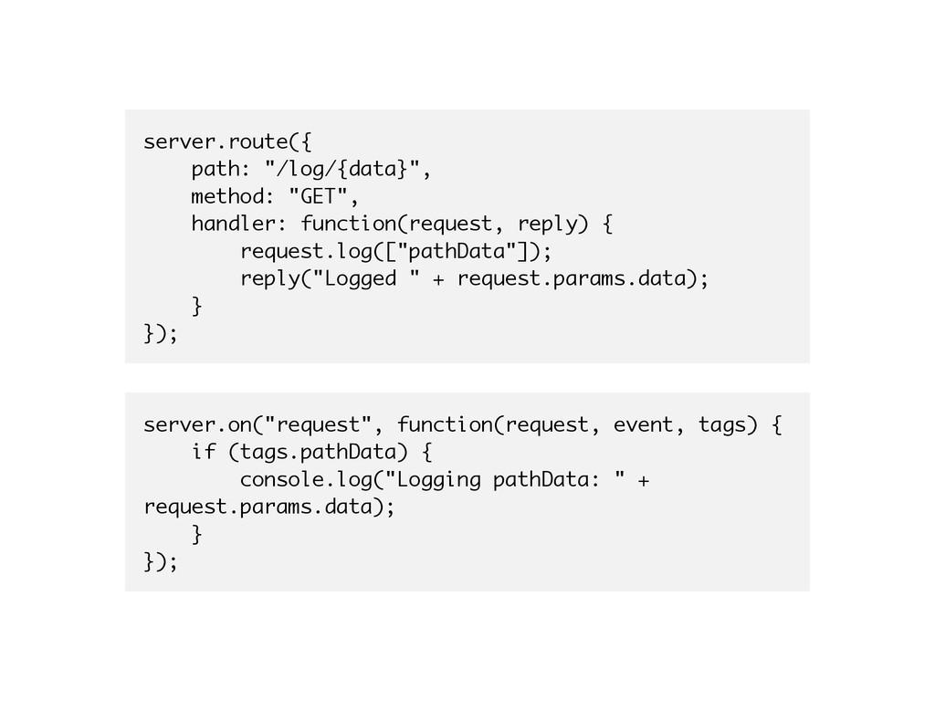 "server.route({ path: ""/log/{data}"", method: ""GE..."