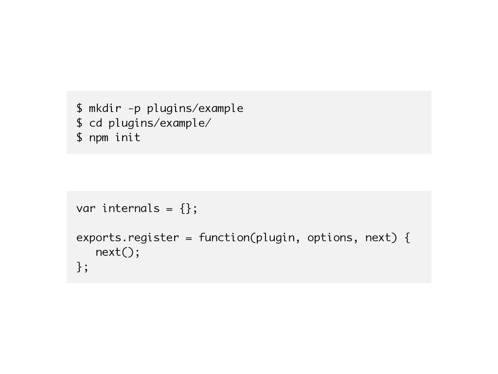 $ mkdir -p plugins/example $ cd plugins/example...