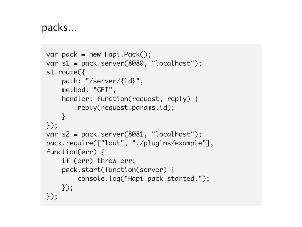 packs… var pack = new Hapi.Pack(); var s1 = pac...