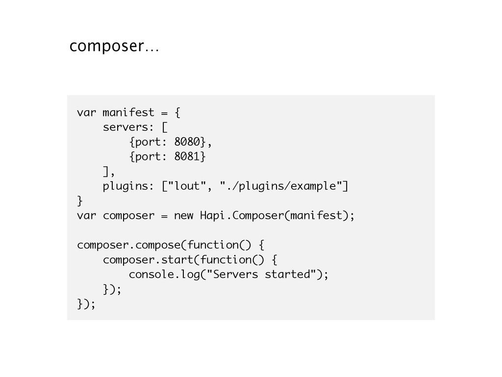 composer… var manifest = { servers: [ {port: 80...
