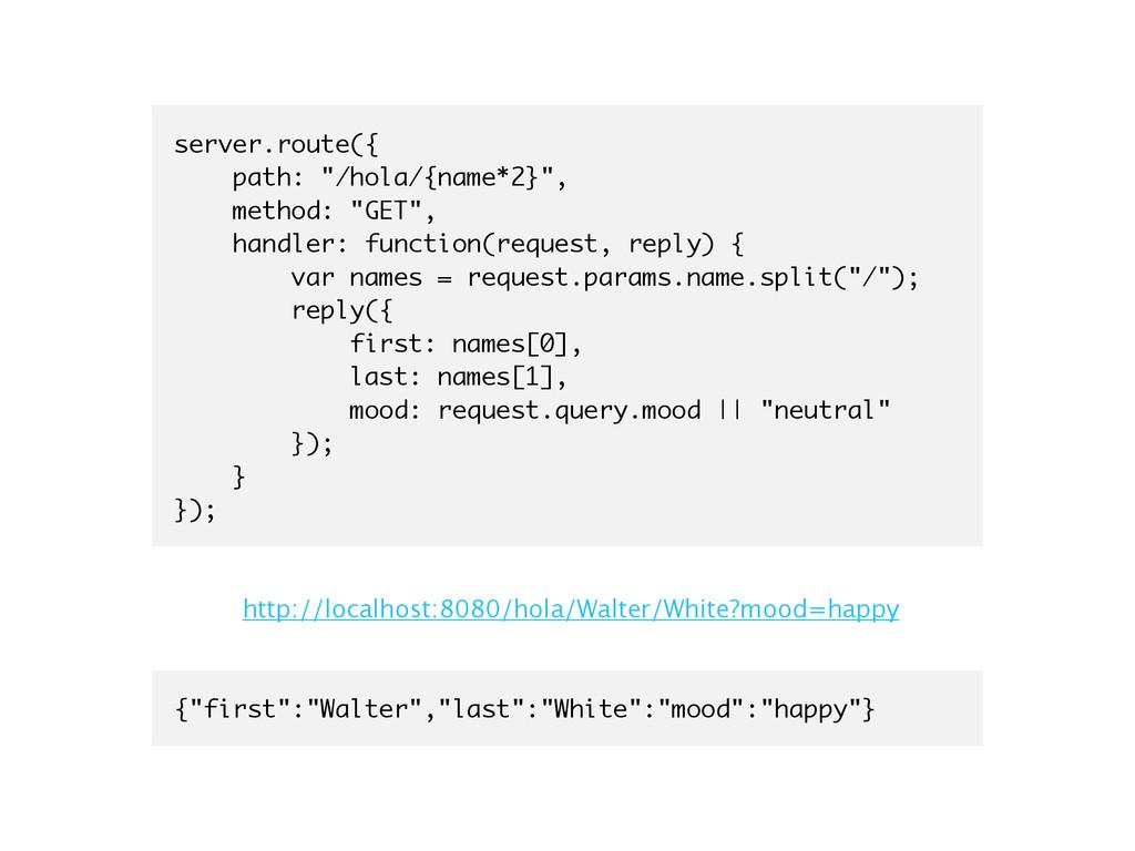"server.route({ path: ""/hola/{name*2}"", method: ..."