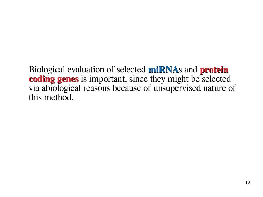 13 Biological evaluation of selected miRNA miRN...