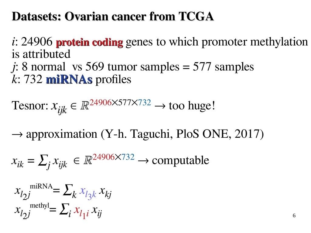 6 Datasets: Ovarian cancer from TCGA Datasets: ...