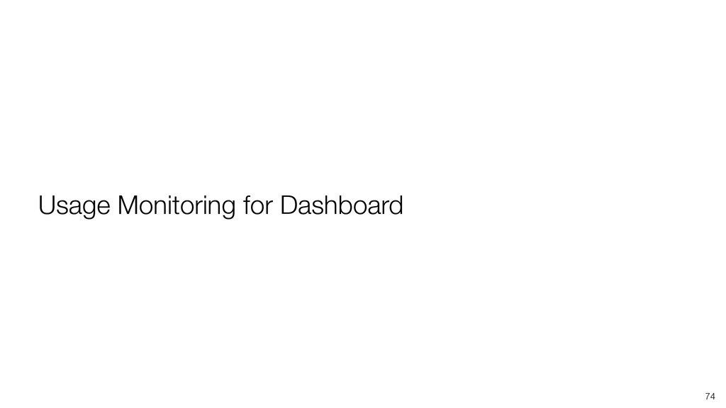 74 Usage Monitoring for Dashboard