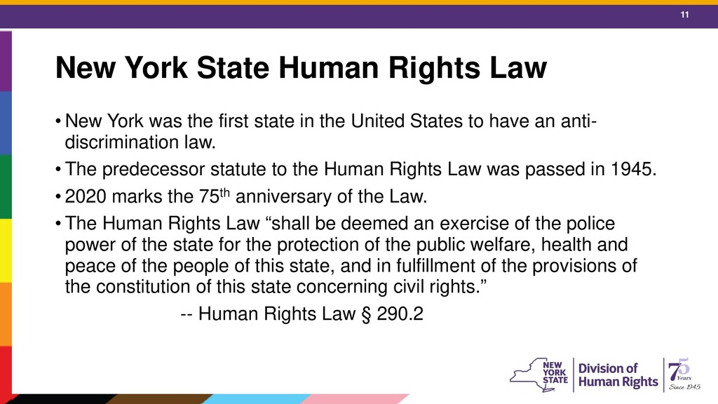 11 New York State Human Rights Law • New York w...