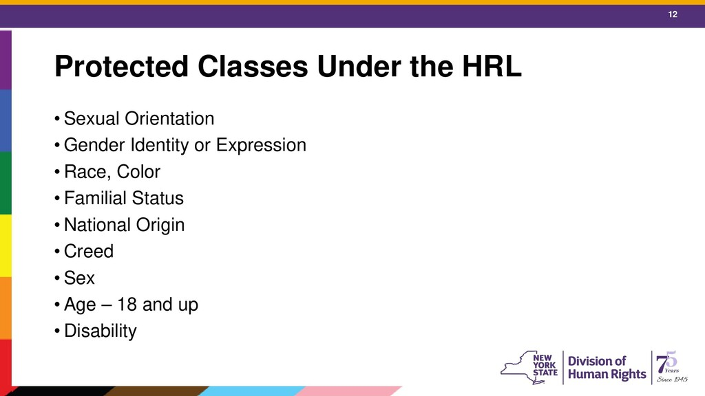 12 Protected Classes Under the HRL • Sexual Ori...