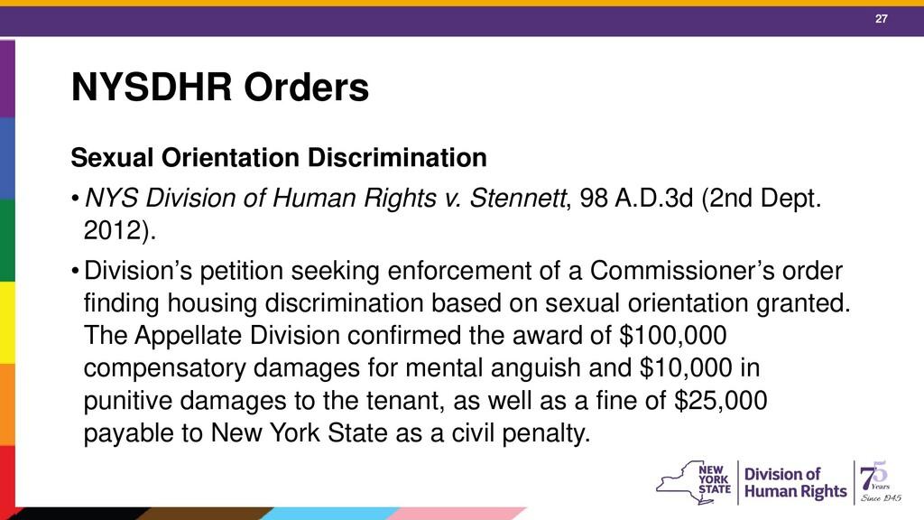 27 NYSDHR Orders Sexual Orientation Discriminat...