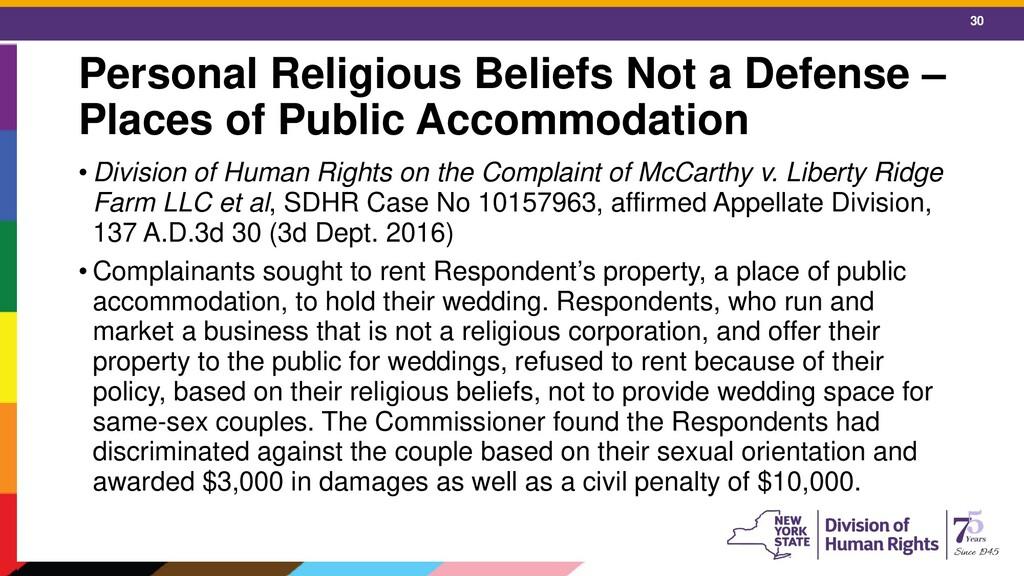 30 Personal Religious Beliefs Not a Defense – P...
