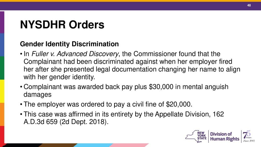 48 NYSDHR Orders Gender Identity Discrimination...