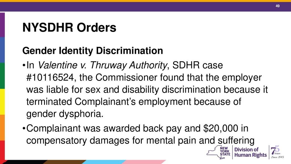 49 NYSDHR Orders Gender Identity Discrimination...
