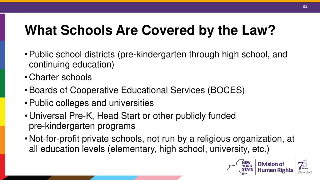 52 What Schools Are Covered by the Law? •Public...