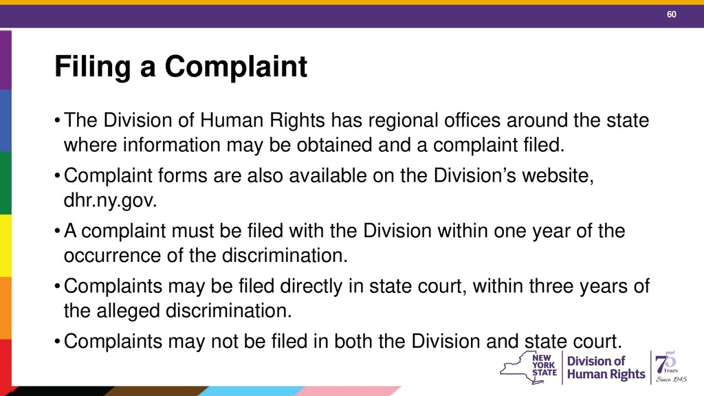 60 Filing a Complaint •The Division of Human Ri...