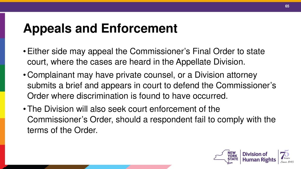65 Appeals and Enforcement •Either side may app...