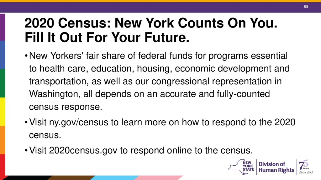 68 2020 Census: New York Counts On You. Fill It...