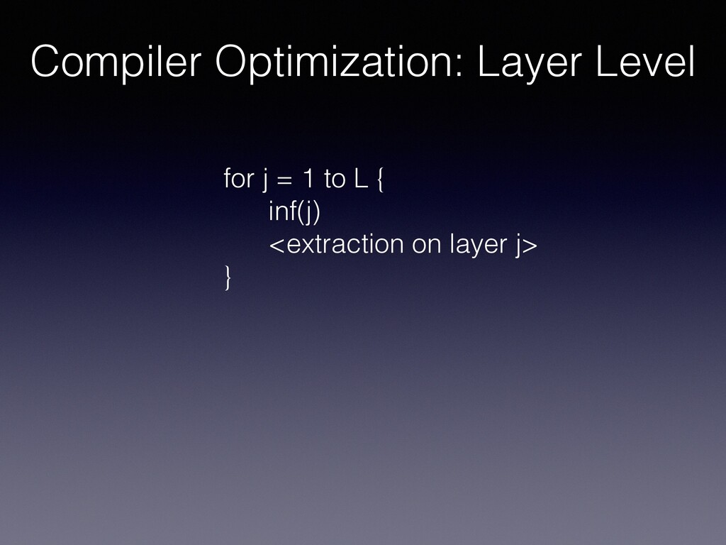 Compiler Optimization: Layer Level for j = 1 to...