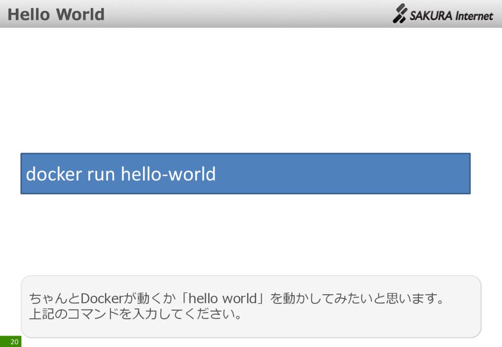 20 ちゃんとDockerが動くか「hello world」を動かしてみたいと思います。 上記...