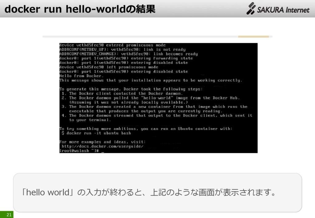 21 「hello world」の入力が終わると、上記のような画面が表示されます。