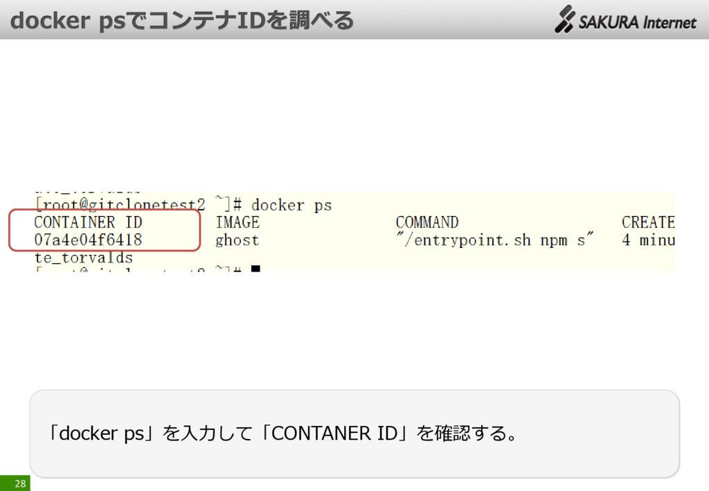 28 「docker ps」を入力して「CONTANER ID」を確認する。