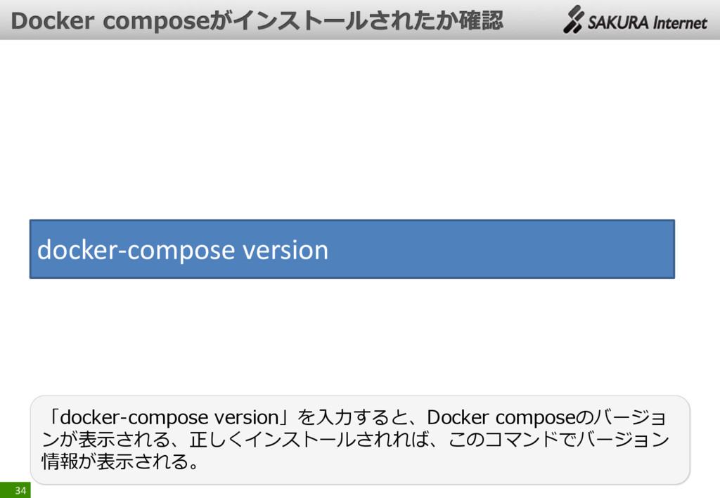34 「docker-compose version」を入力すると、Docker compos...