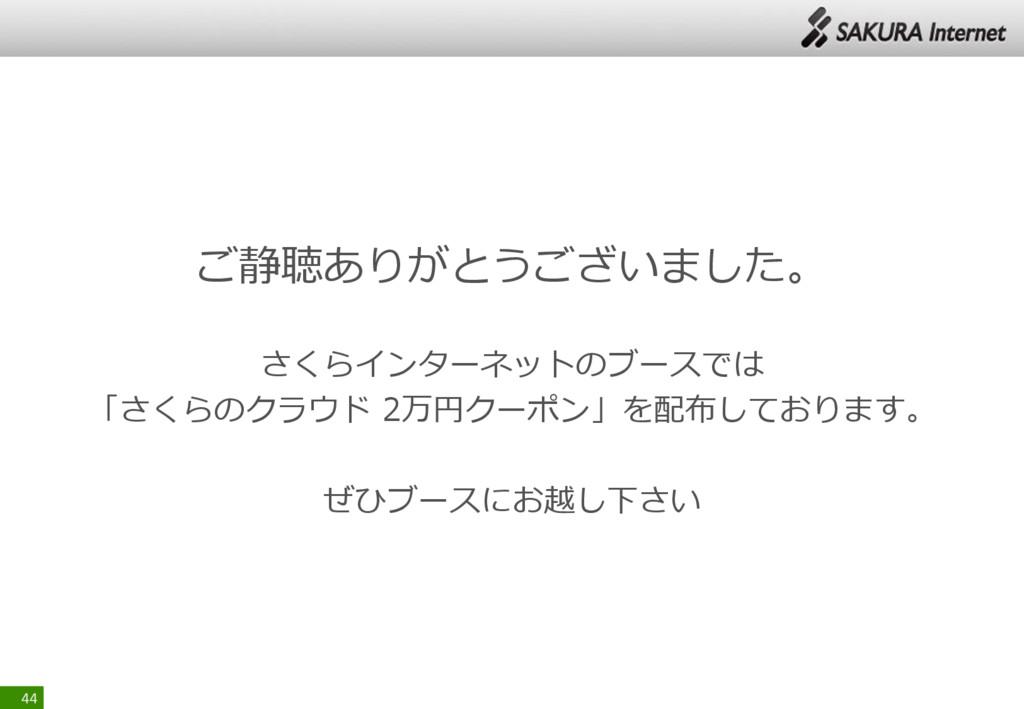 ご静聴ありがとうございました。 さくらインターネットのブースでは 「さくらのクラウド 2万円ク...